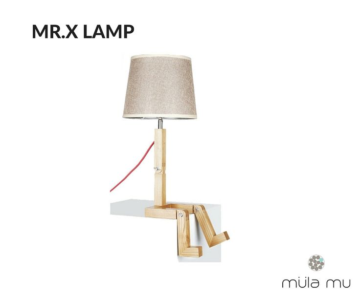 MR.X LAMP is the perfect embodiment of a man and a lamp. Made out of solid wood, this piece takes on the form of a man sitting and in place of his head, there is a bulb and lampshade in its place.  Dimension: 270 x 160 x 530 mm  *Price does not include light bulbs. http://www.mulamu.com/product/mr-x-lamp/