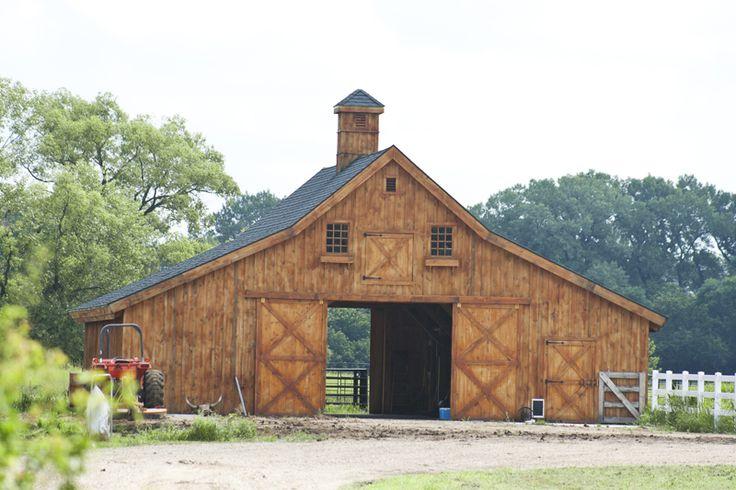 Wood Barn for an Acreage or small Farm  www.sandcreekpostandbeam.com https://www.facebook.com/pages/Sand-Creek-Post-Beam-Traditional-Post-Beam-Barn-Kits/66631959179
