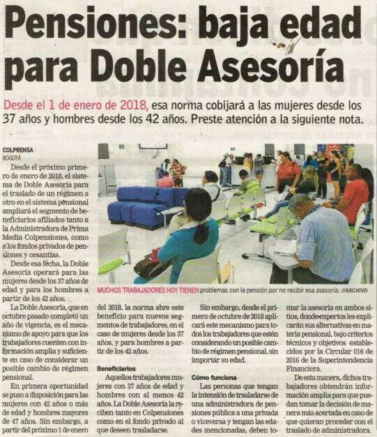 Pensiones : baja la edad para doble asesoría desde 1 enero 2018