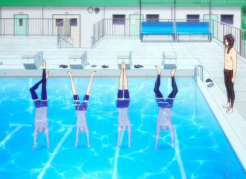 Rei is kinda like ''ehhh down down down'' Nagasi is being a show off, and Haru is like ''one with the water I am water light as a feather stiff as a board''