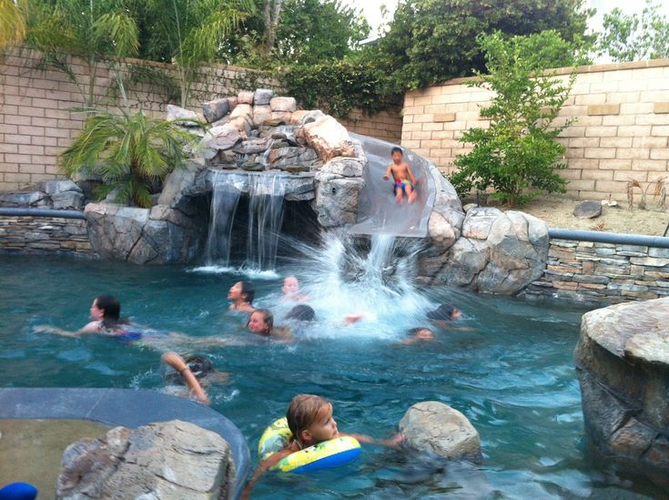 Backyard Pools With Slides swimming pools with slides and waterfalls | 15. rock waterfall
