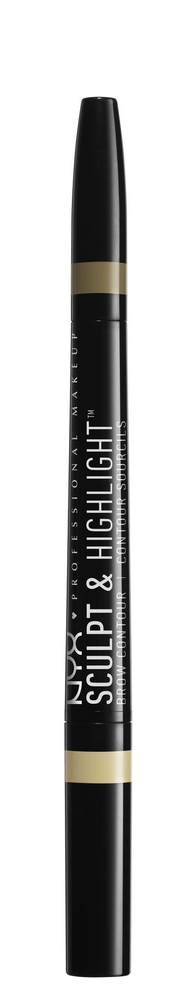 NYX Professional Makeup Sculpt & Highlight Brow Contour, Blonde. A dual sided brow and highlight pencil ideal for defining, filling and creating the illusion of lifted eyebrows. The propel/repel design means you never have to sharpen either side. The highlight side boosts your natural arch, while the brow side is perfect for defining and filling in brow color. Formulated with castor seed oil, this dynamic eyebrow pencil also helps the skin feel soft and smooth. Lightly fill in and define...