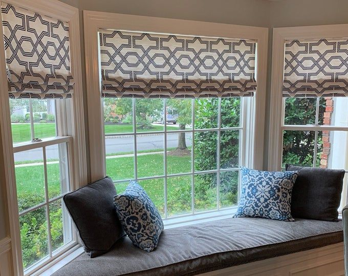 Modern Valances In The Roman Shade Style By Monagstudio On Etsy In 2020 Faux Roman Shades Modern Valances Roman Shades