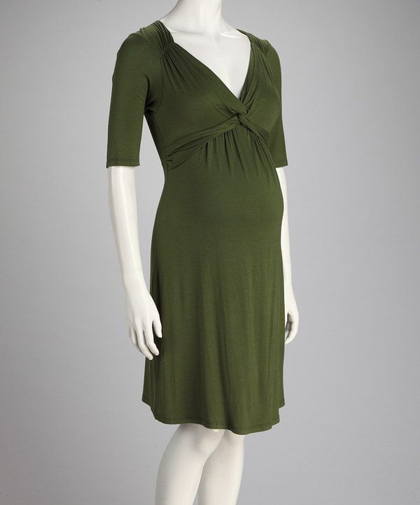 Take a look at this Olive Front-Tie Maternity Dress on zulily today!