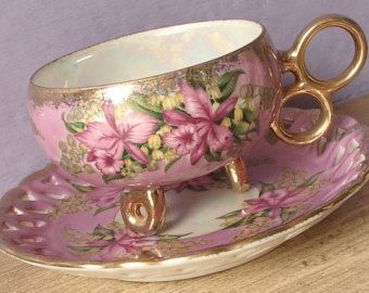 Antique Royal Halsey pink orchids tea cup and saucer, lustreware teacup, pink porcelain tea cup, footed tea cup, iridescent tea cup