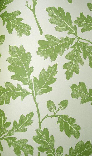 Oakwood Wallpaper Light cream wallpaper with print of oak leaves in green