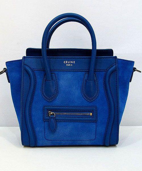 Celine Royal Blue nano Luggage Smooth Leather Suede Bag | BLUE BLU ...