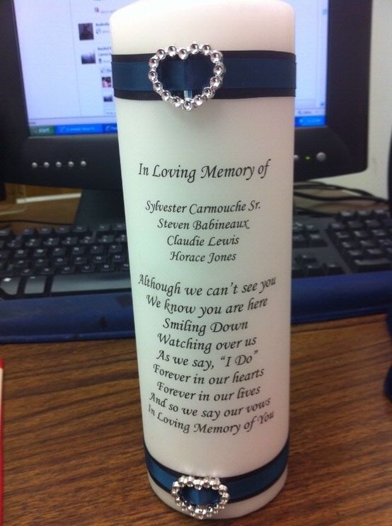 wedding memory candle no poem just in loving memory and names