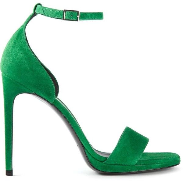 Saint Laurent 'Jane' sandals featuring polyvore, fashion, shoes, sandals, heels, high heels, green, green shoes, high heels stilettos, ankle strap high heel sandals, ankle strap shoes and stiletto sandals