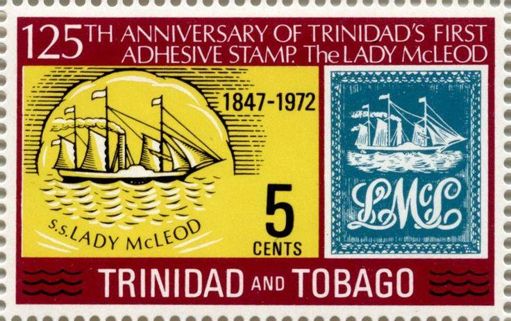 Первая марка с изображением парусника - Lady McLeod (Тринидад)