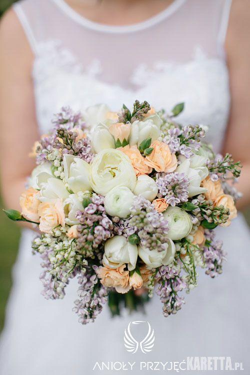 12. Lilac Wedding,Lilac tulips roses wedding bouquet/ Wesele z bzem,Bukiet,Anioły Przyjęć