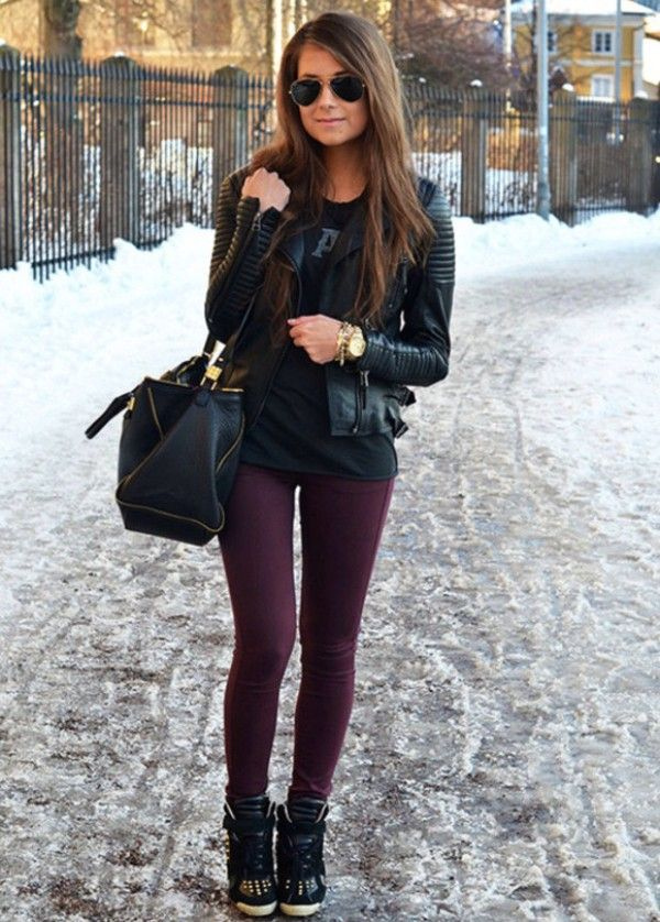 Sneaker Wedges Outfits For Winter