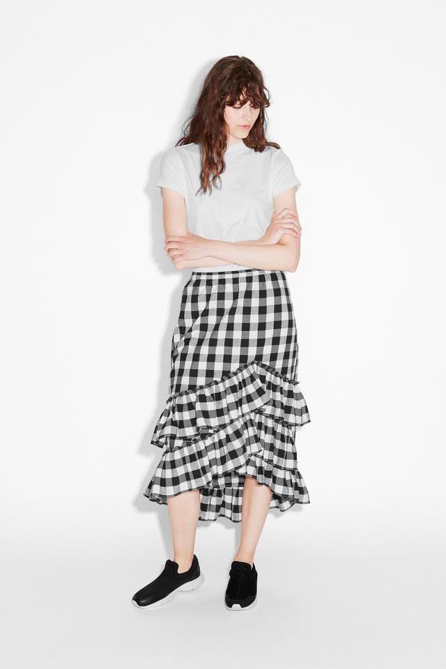 Ruffled Seersucker Skirt by MONKI