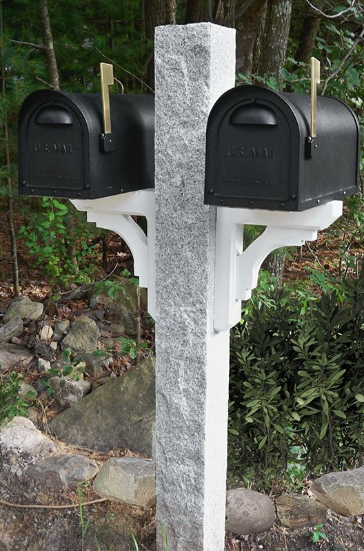 New Hampshire Grey Granite Mailbox Post With Rock2