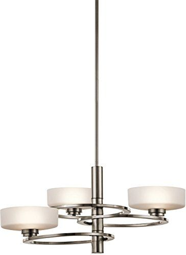 Home décor chandeliers kichler lighting 43364clp aleeka 3lt chandelier classic pewter finish with etched opal glass