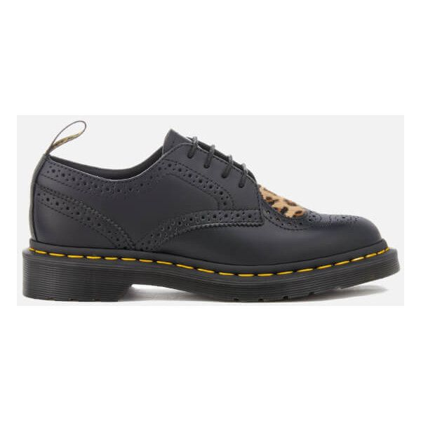 Dr. Martens Women's Joyce Heart Polished Leather Brogues -... (£125) ❤ liked on Polyvore featuring shoes, oxfords, black, leopard flat shoes, black flat shoes, leather flat shoes, black flats and black leather shoes