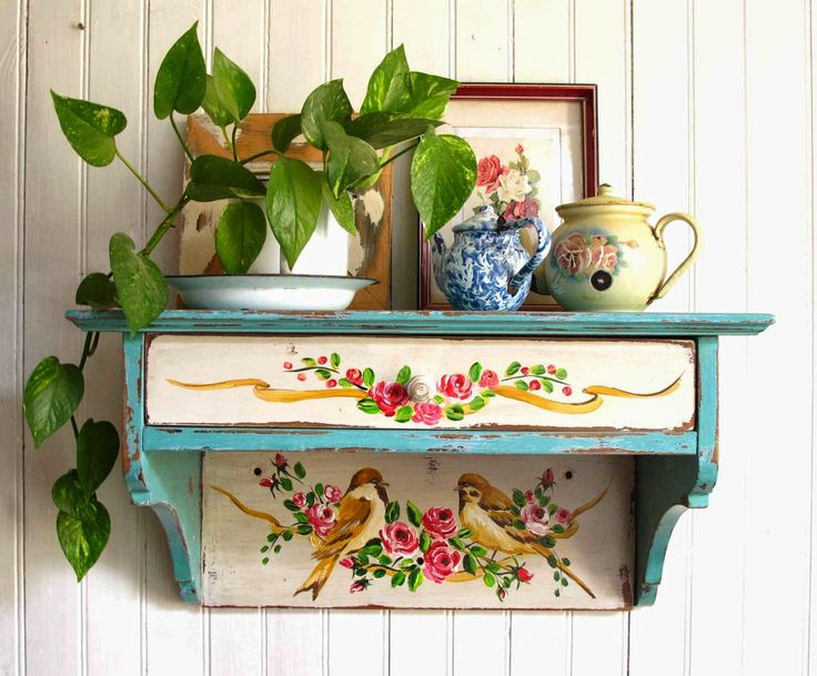 Cute painted shelving units - small enough to fit in those awkward areas.