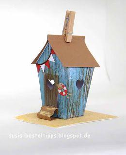 "Strandhaus mit Stampin Up! Framelits ""Zu Hause""   Susi's Basteltipps…"