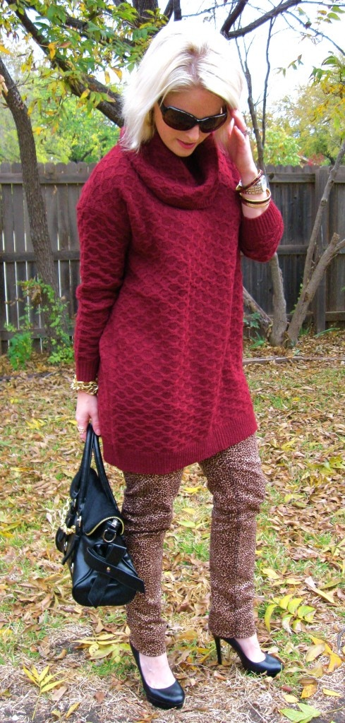 Over-sized Bordeaux Sweater and Leopard Print