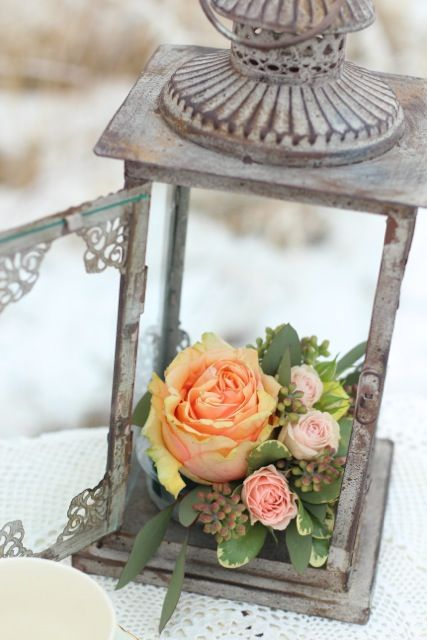 Little Details | Vintage Wedding Rentals at Vintage Origami #peach #lantern #centerpiece