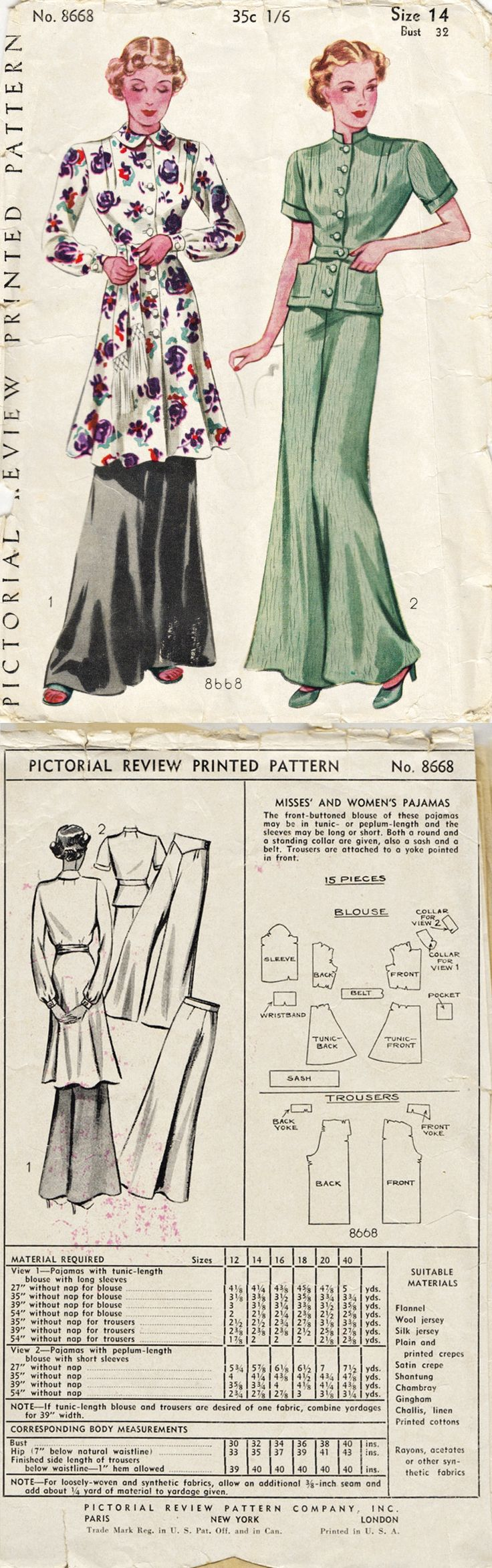 Ladies Pajama Set 1930s Pictorial 8668 pant suit wide legged tunic shirt blouse casual hostess 40s green floral black red purple white color fashion illustration sewing pattern