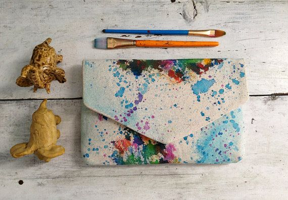 hand painted Africa clutch envelope clutch by MyALaModeBoutique, $58.00