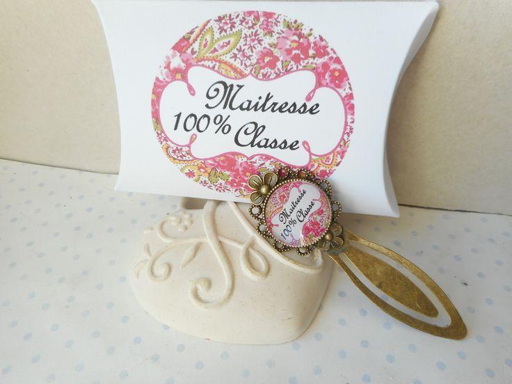 """Marque page cabochon verre """"maitresse 100% classe"""" + boite cadeau rose fushia, blanc, jaune orangé, arabesques : Marque-pages par miss-coopecoll"""