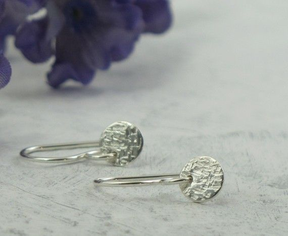 Linen Texture Earrings  petite dangles  by KathrynRiechert on Etsy, $16.00