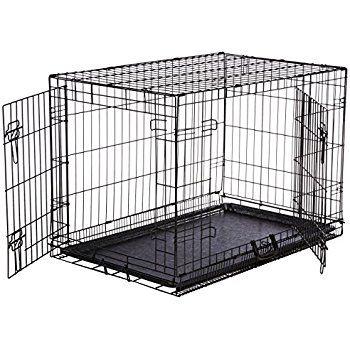 Basics Double-Door Folding Metal Dog Crate - Medium (36x23x25 Inches) : Pet Supplies: http://petplaybale.com/dogs-crates-houses-pens.html