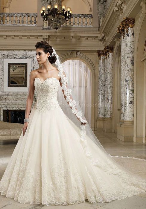Lace A-line Sweetheart With Beads Floor-length Chapel Train Wedding Dress