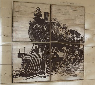 Planked Train Panels #potterybarn   I would love to have this for above Oscar's bed!
