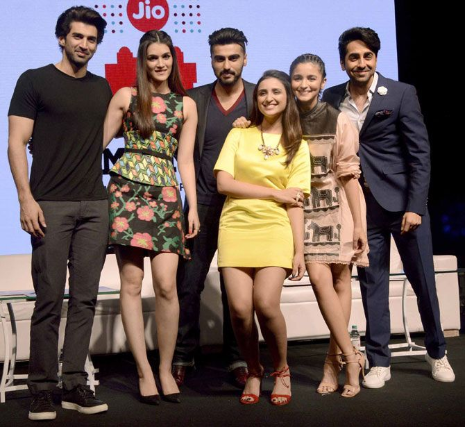 Aditya Roy Kapur, Kriti Sanon, Arjun Kapoor, Parineeti Chopra, Alia Bhatt and Ayushmann Khurrana at the MAMI Movie Mela. #Bollywood #MAMI2015 #Fashion #Style #Beauty #Handsome
