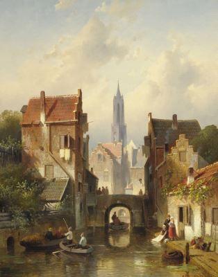 'Charles' Henri Joseph Leickert (Brussel 1816-1907 Mainz (Duitsland)) A town view with the 'Nieuwe Kerk', Delft - Dutch Art Gallery Simonis and Buunk Ede, Netherlands.