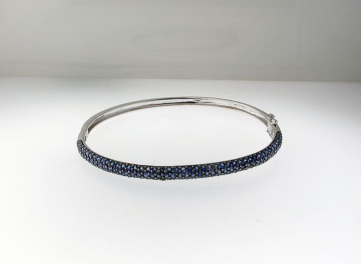 Sapphire bangle bracelet in 14k whit gold.  Comment or email jeff@premiergems.ca for details.