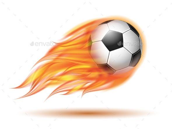 Flying Football Or Soccer Ball On Fire Soccer Ball Soccer Ball