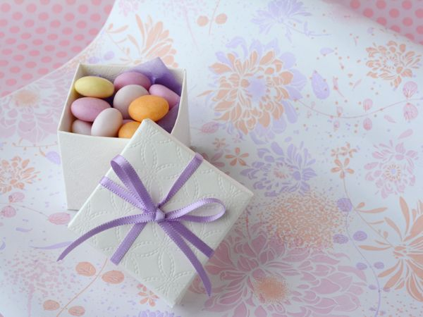 Floral Wrapping paper in soft pastels with tiny embossed box