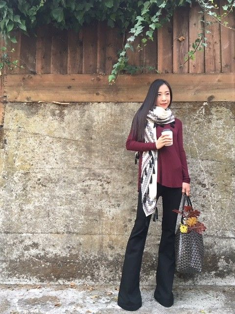 Emma Lee - Zara Scarf, Byer California Fit And Flare Pant, Goyard Tote Bag, Anthropologie Turtle Neck Jersey Top - Fit and flare obsession | LOOKBOOK