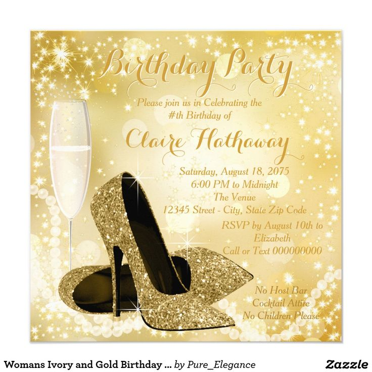 Womans ivory and gold birthday party card 50 a os for Carrelage 7 5 x 15