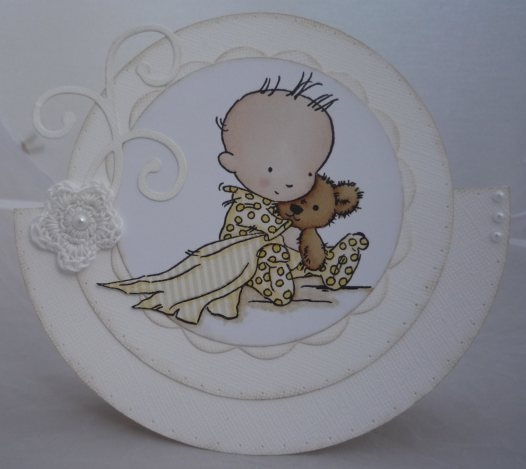 White on white baby rocker card