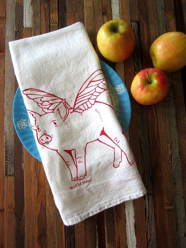 Tea Towel Screen Printed Organic Cotton Flour Sack Towel