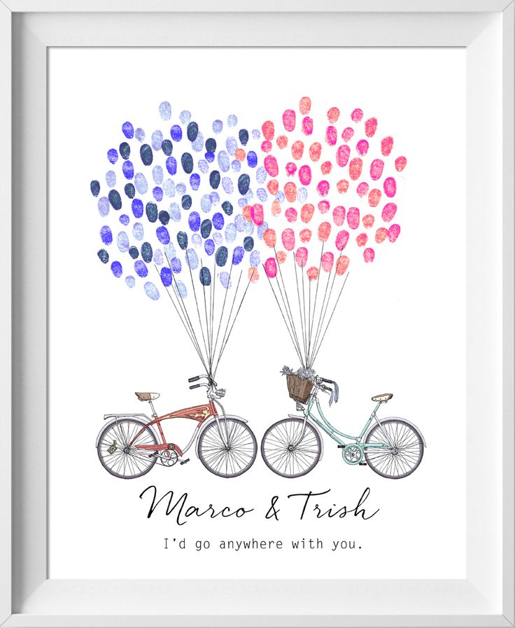Wedding Guest book, bicycle couple. thumbprint tree, wedding guestbook Fingerprint tree