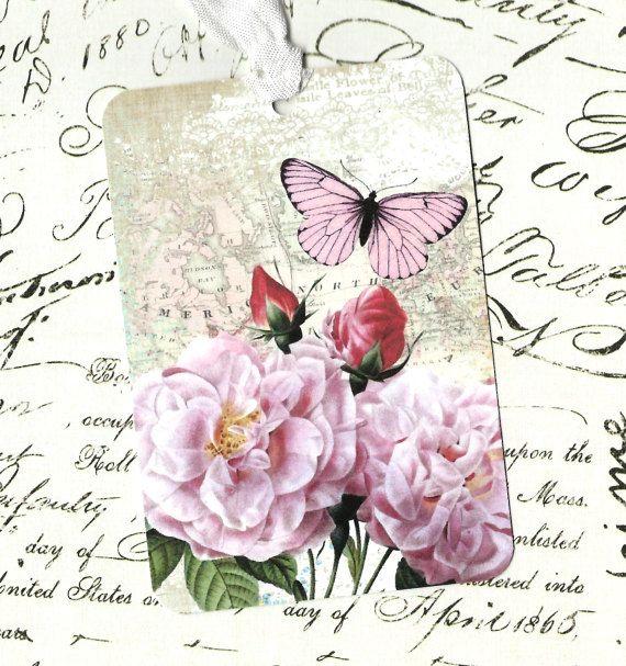 Steeg van Tags, Gift Tags, Butterfly & rozen verjaardag Tags, partij…