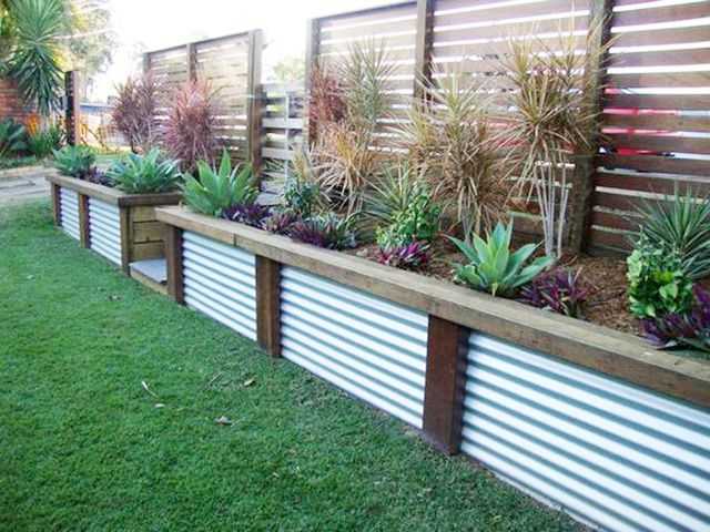 Metal panels are rust proof, fade proof, and are generally a great choice for both fencing and garden edging when combined with the correct framing materials. Pair with sturdy lumber to create a unique look.  Added bonus? It comes in a variety of colors!