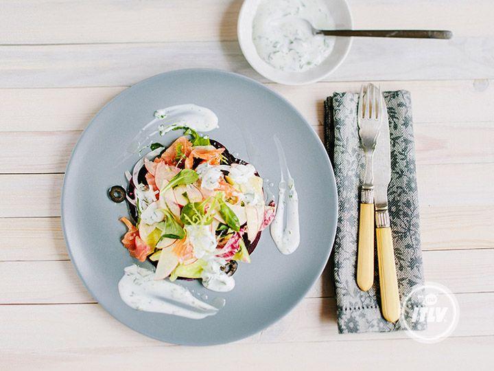 Русский салат с лососем
