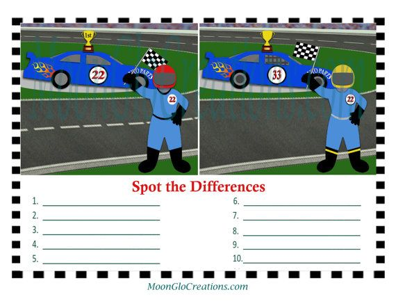 Spot the differences game sheets Race car by MoonGloCreations
