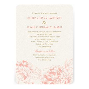 Elegant and romantic peony wedding invitation design in coral pink and champagne gold color scheme. #wedding #collections #wedding #theme #elegant #formal #style #peony #peonies #floral #flower #pretty #garden #flowers