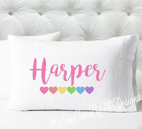 Personalized Girls Pillowcase Rainbow Pastel Hearts Pillowcase Kids Pillow Case Standard Size Pi Kids Pillow Cases Personalized Pillow Cases Kids Pillows