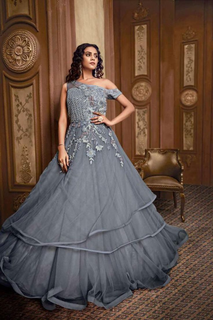 Buy Grey Color Hand Work Fancy Fabric Party Wear Readymade