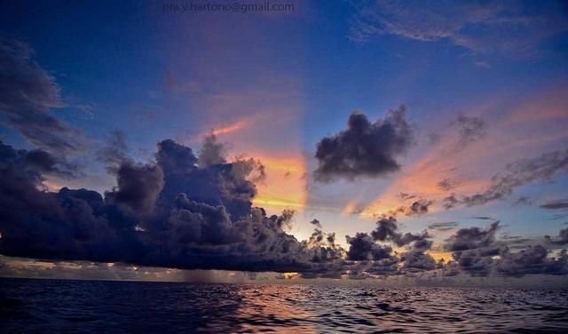 Sunset at Western Halmahera sea. Jailolo, West Halmahera, Maluku, Indonesia.