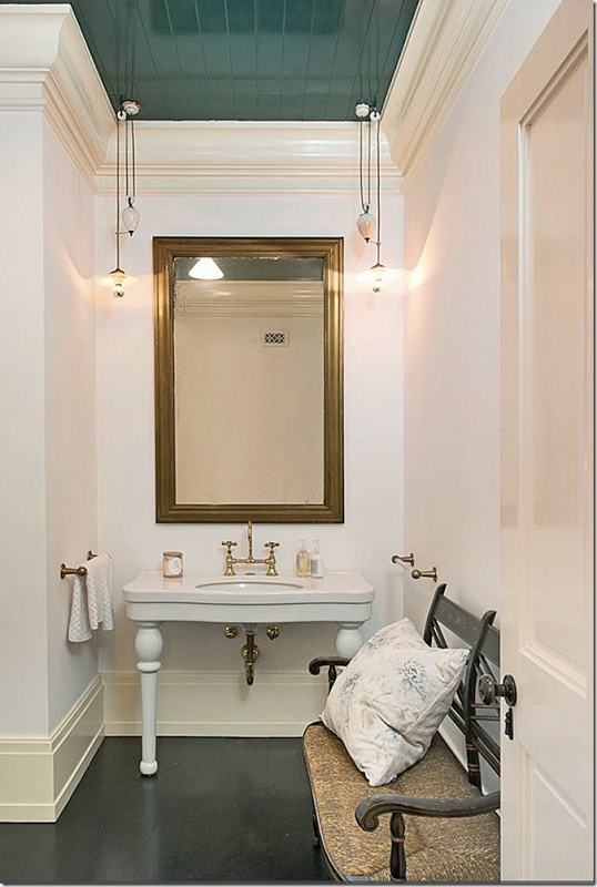 Vanity Window Lacquered Beadboard Ceiling Bathroom Design Inspiration Pictures Remodels A